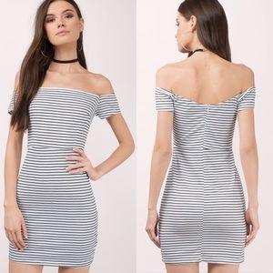 Tobi gracelyn black & white striped bodycon dress